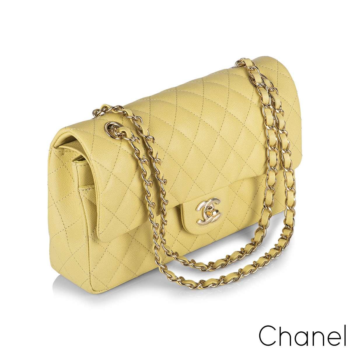 Chanel Yellow Caviar Medium Classic Double Flap Bag
